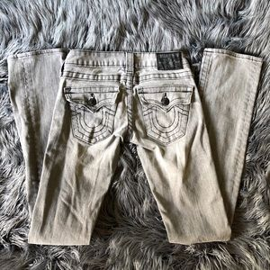PRE LOVED gray low rise true religion denim jeans
